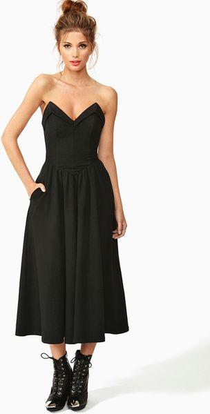 Nasty Gal Hashtag Sweetheart Dress in Black