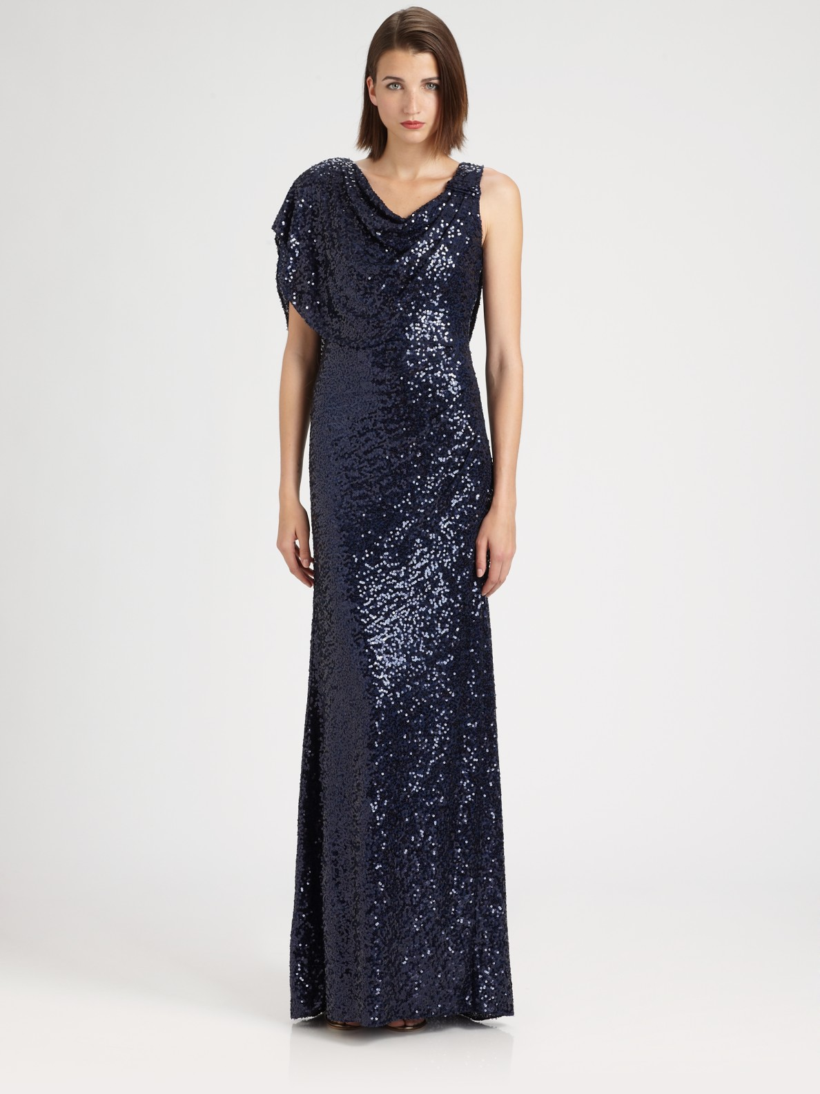 Badgley Mischka Draped Sequined Gown In Blue Lyst