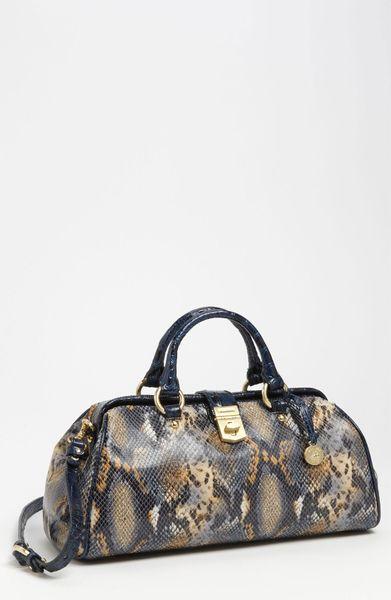 Brahmin Everett Anaconda Embossed Handbag in Beige (blue anaconda