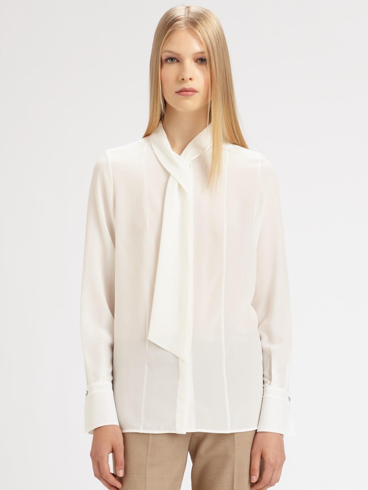 f0450cf33dfc0 White Silk Tie Blouse
