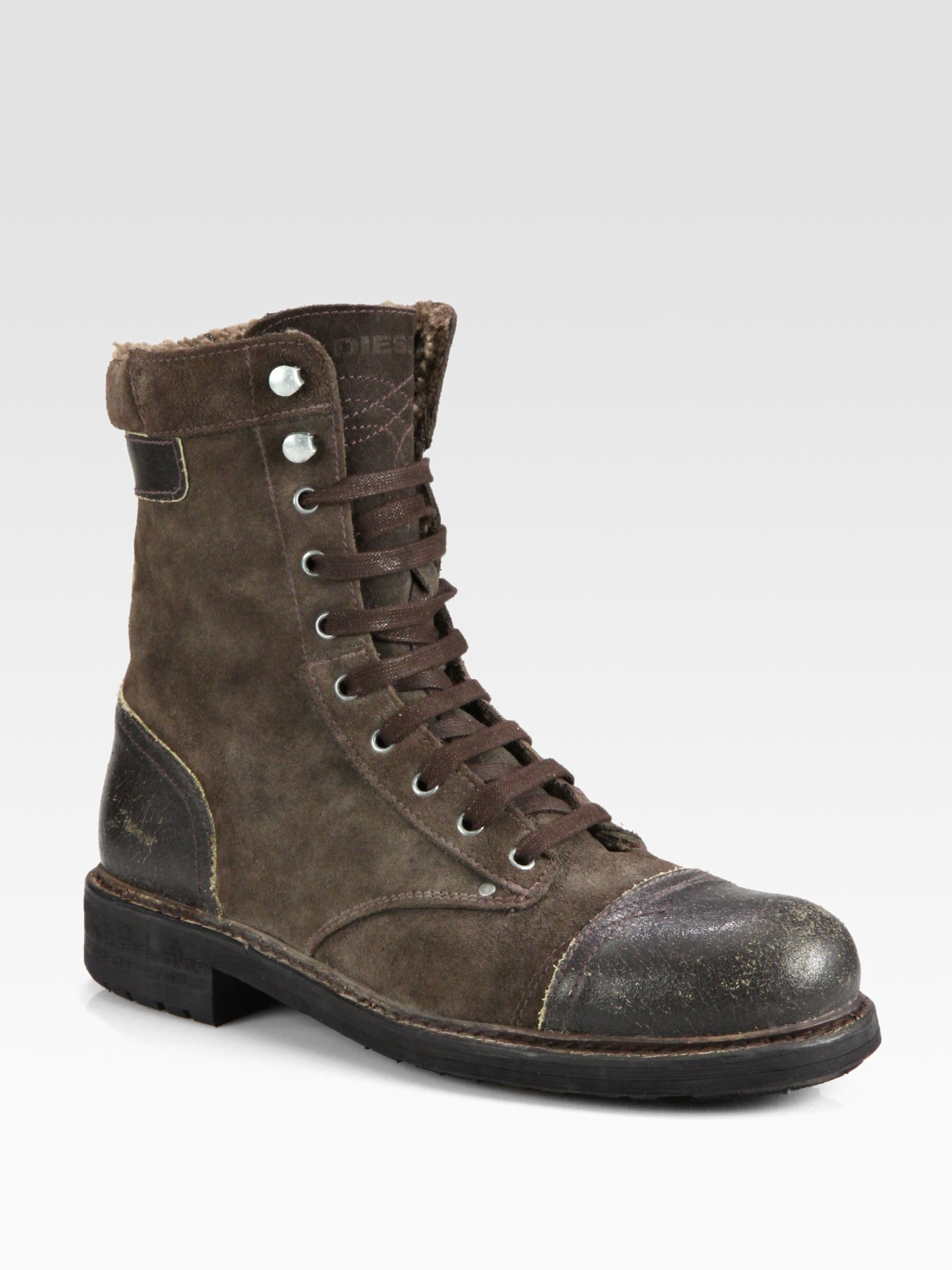 diesel butch cassidy laceup boot in brown for men