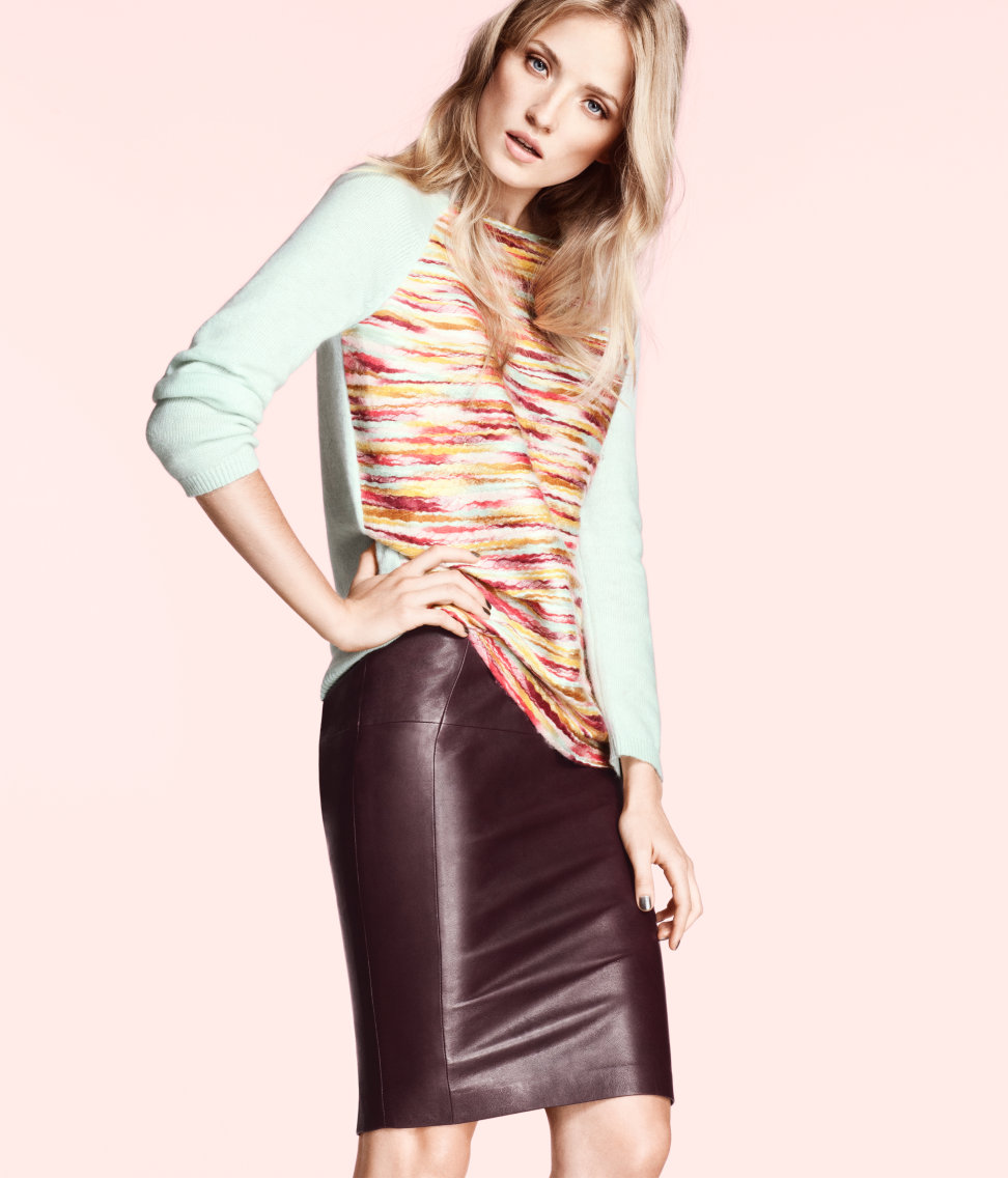 H&m Leather Skirt in Purple | Lyst