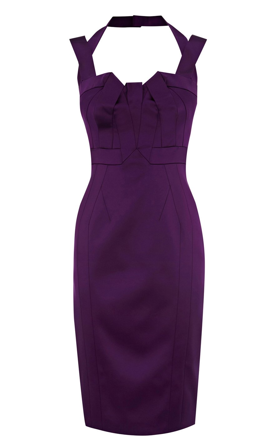 Karen millen Signature Stretch Satin Dress in Purple