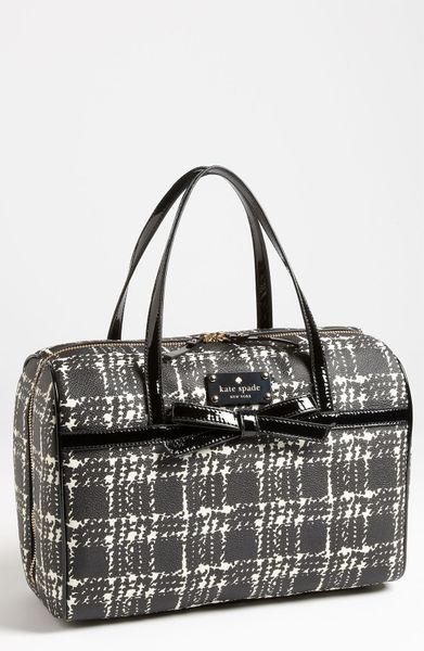 Kate Spade Belleville Plaid Shawna Satchel in Beige (black/ cream)