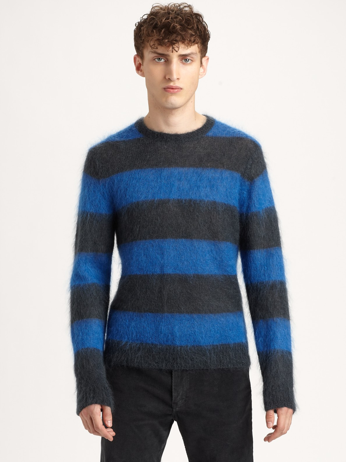 marc by marc jacobs stripe crewneck sweater in blue for men lyst. Black Bedroom Furniture Sets. Home Design Ideas