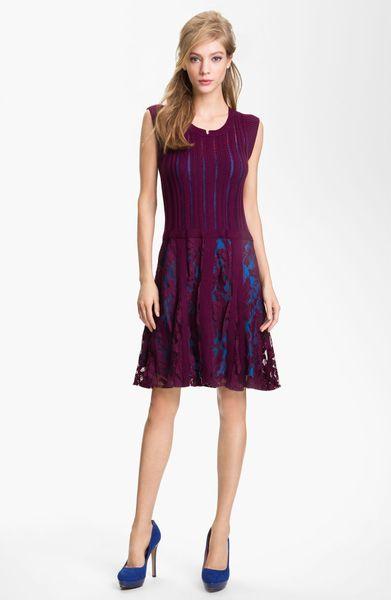 Nanette Lepore Enchanting Knit Lace Aline Dress In Purple
