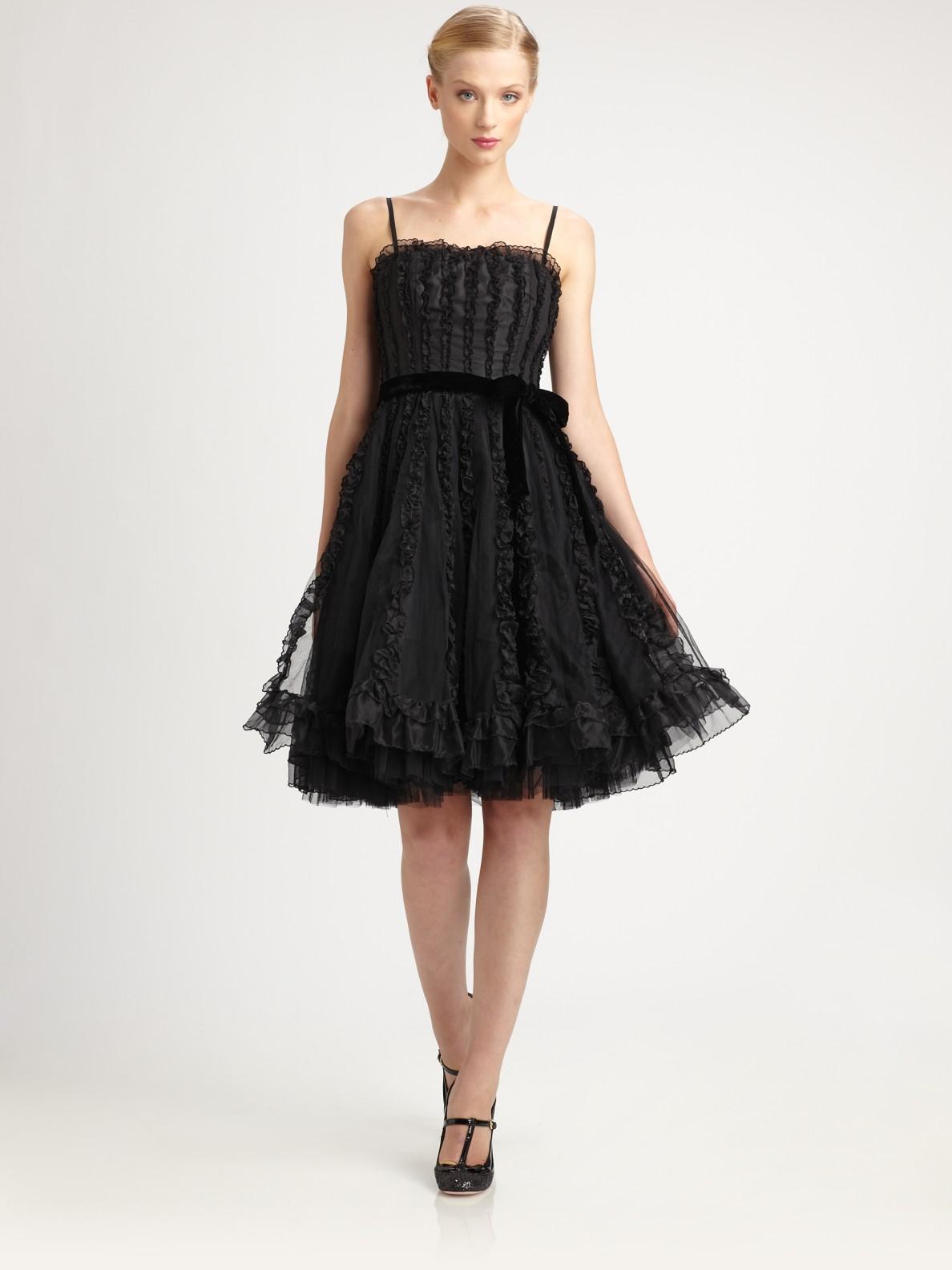 Lyst Red Valentino Silk Dress In Black