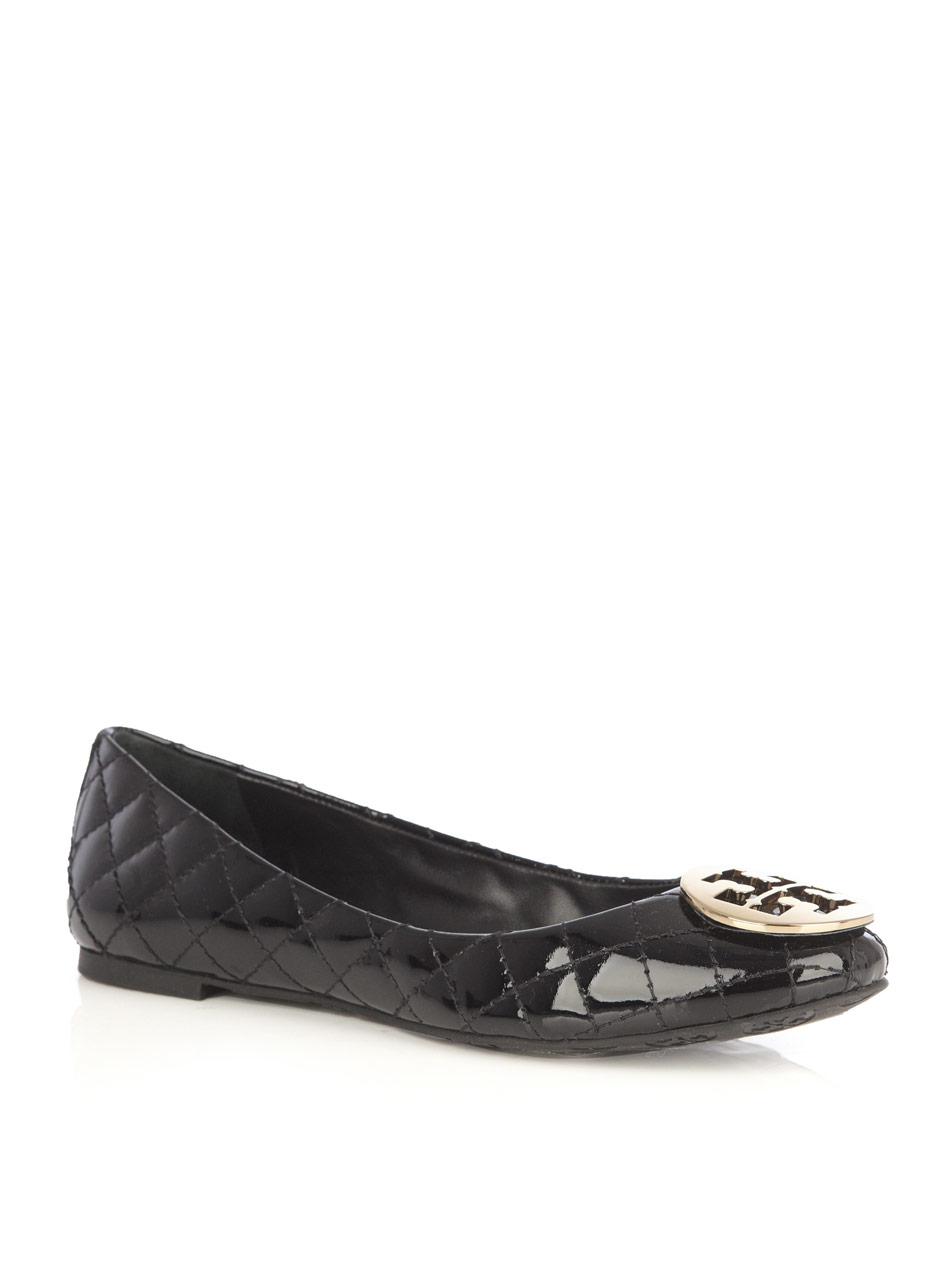 Tory Burch Quilted Flat Shoes In Black | Lyst