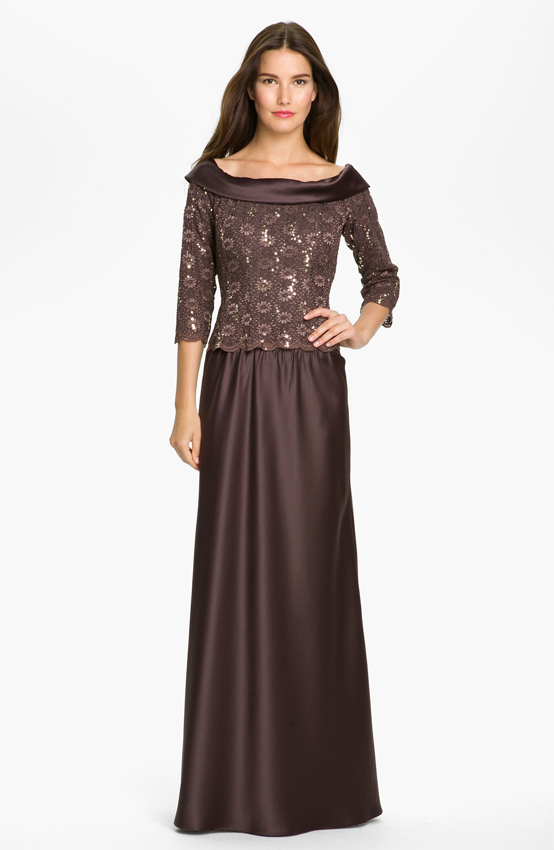 Alex Evenings Off The Shoulder Lace Top with Satin Skirt in Brown | Lyst