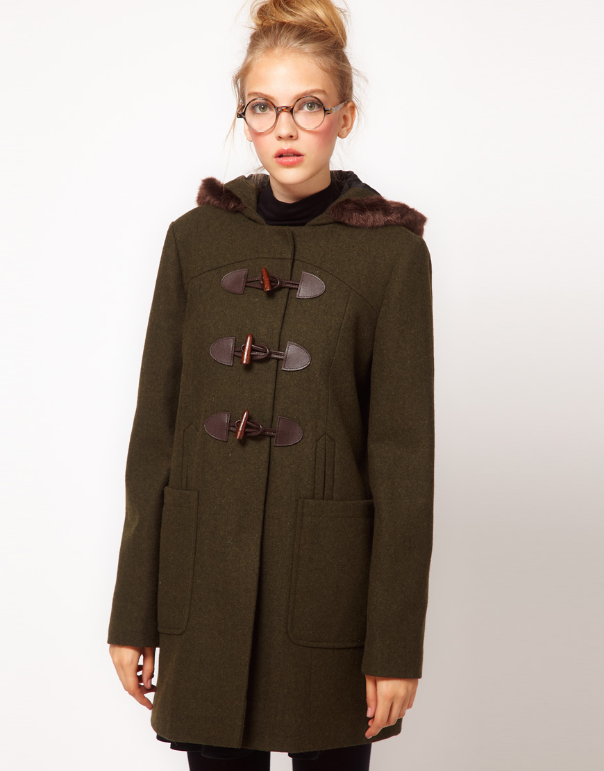 Khaki Duffle Coat | Fashion Women's Coat 2017
