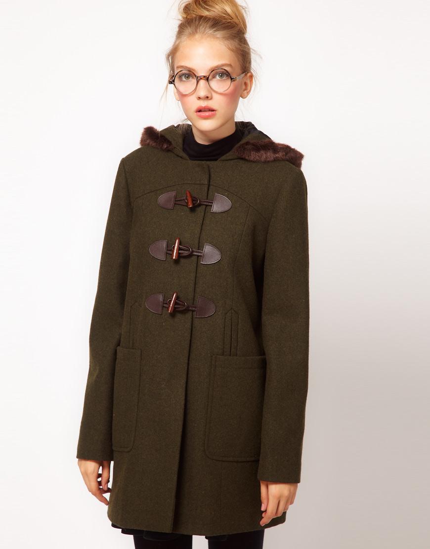 Khaki Duffle Coat | Fashion Women's Coat 2017