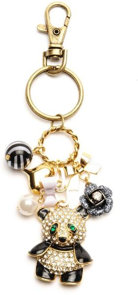 Betsey Johnson Crystal Panda Key Chain in White (pearl)