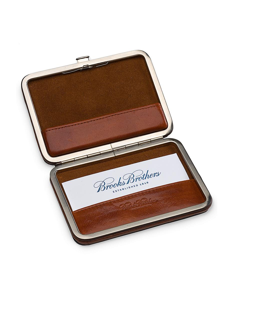 Brooks Brothers Leather Business Card Case in Brown for