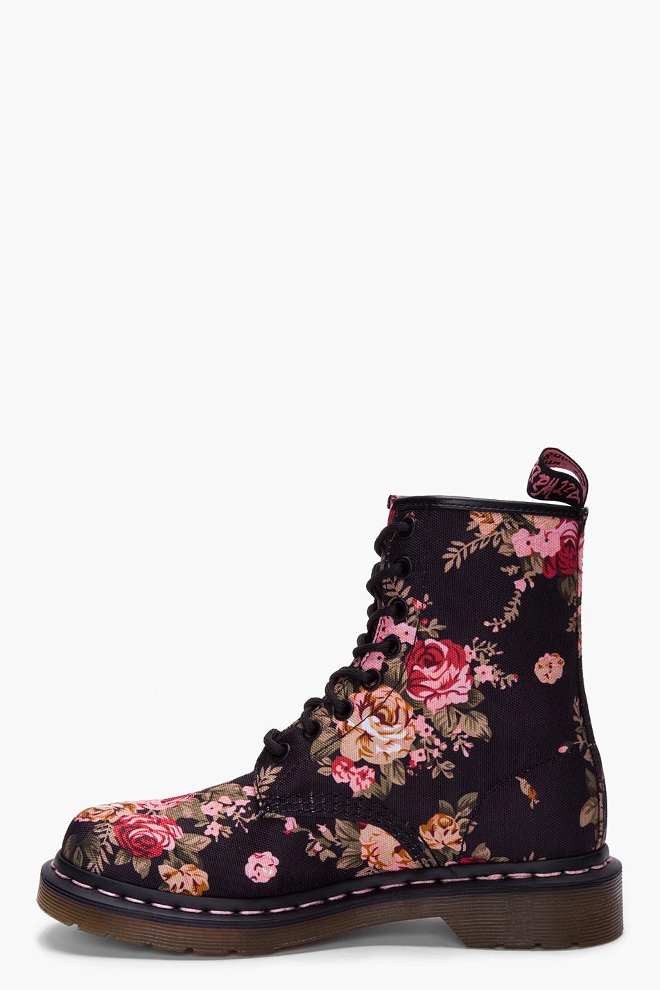 Dr Martens Dr Martens 8 Eye Victorian Print Ankle Boots