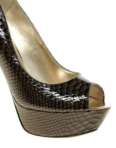 dune downham green metal heel platform court shoes in