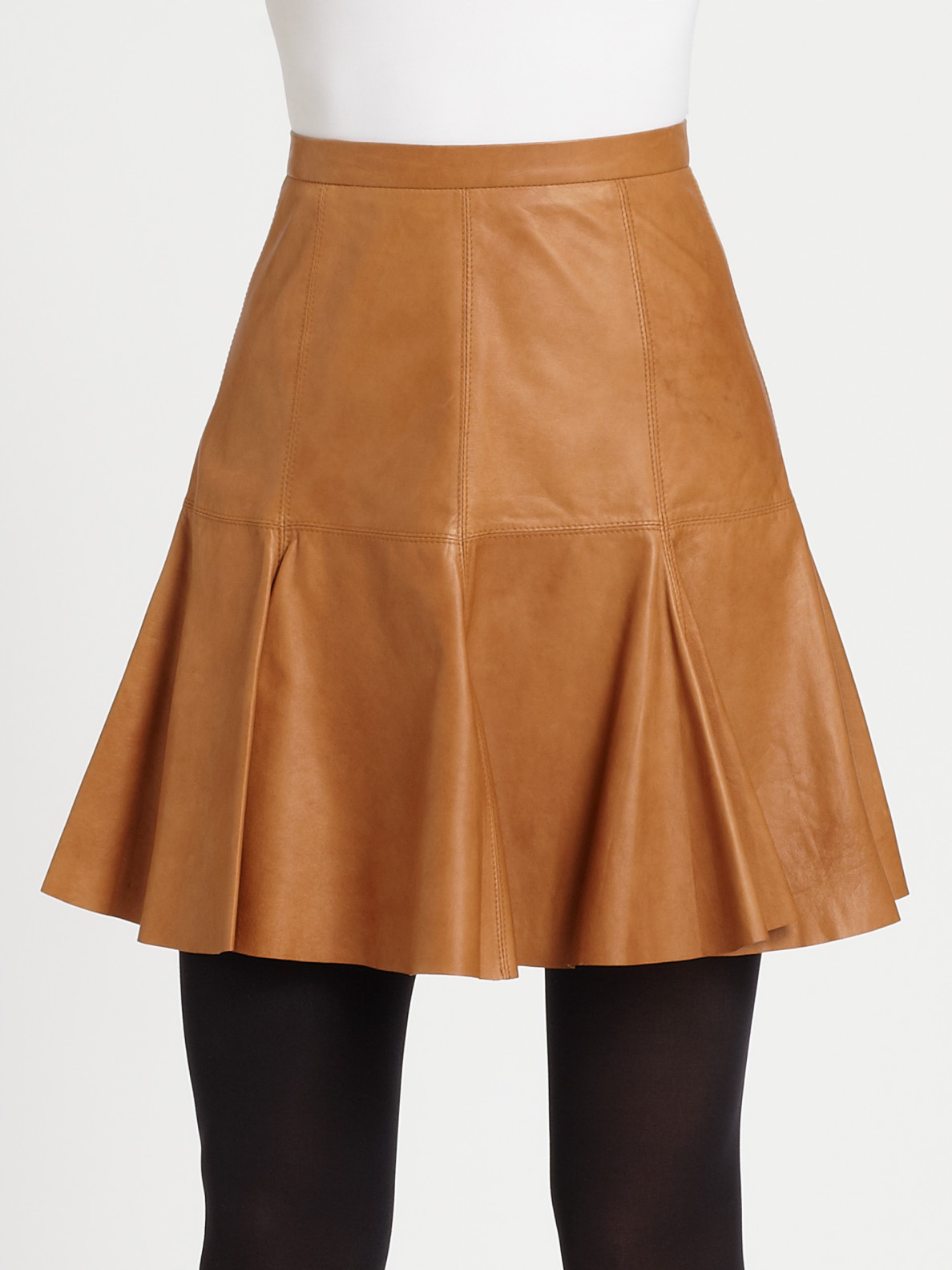 Halston Flared Leather Skirt In Brown Lyst