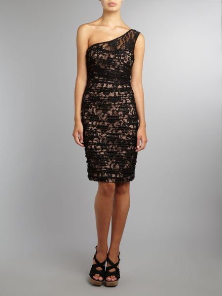 Js Collections One Shoulder Lace Ruched Dress In Black Lyst