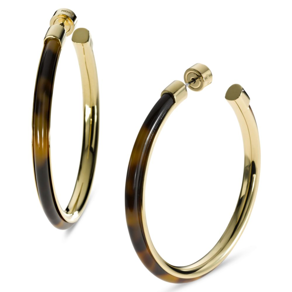 michael kors gold hoop earrings michael kors gold tone tortoise large hoop earrings in 7853