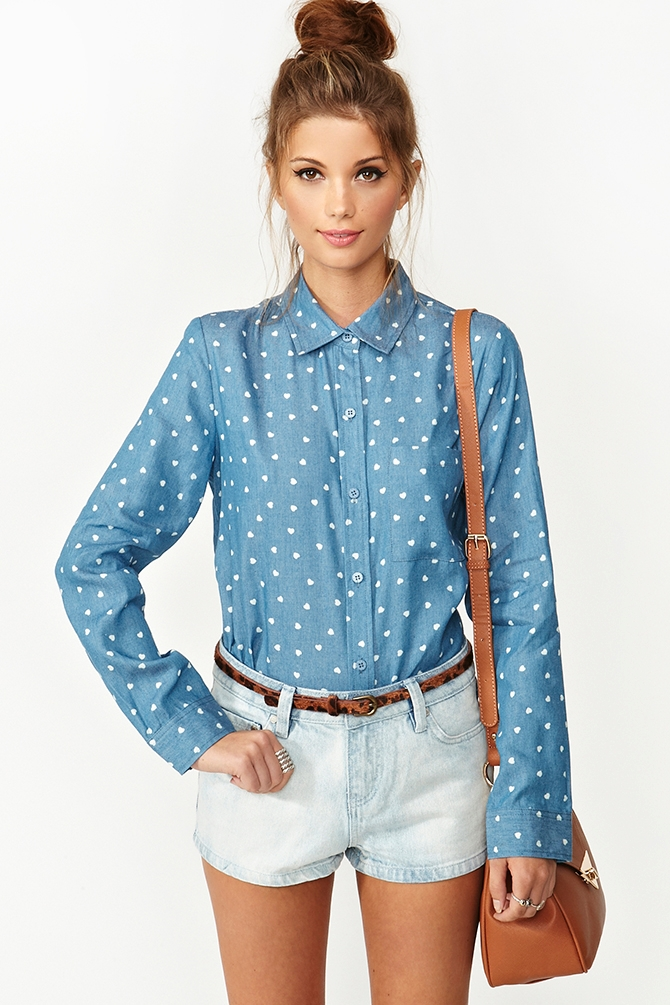 Nasty Gal Chambray Heart Shirt In Blue - Lyst-9103