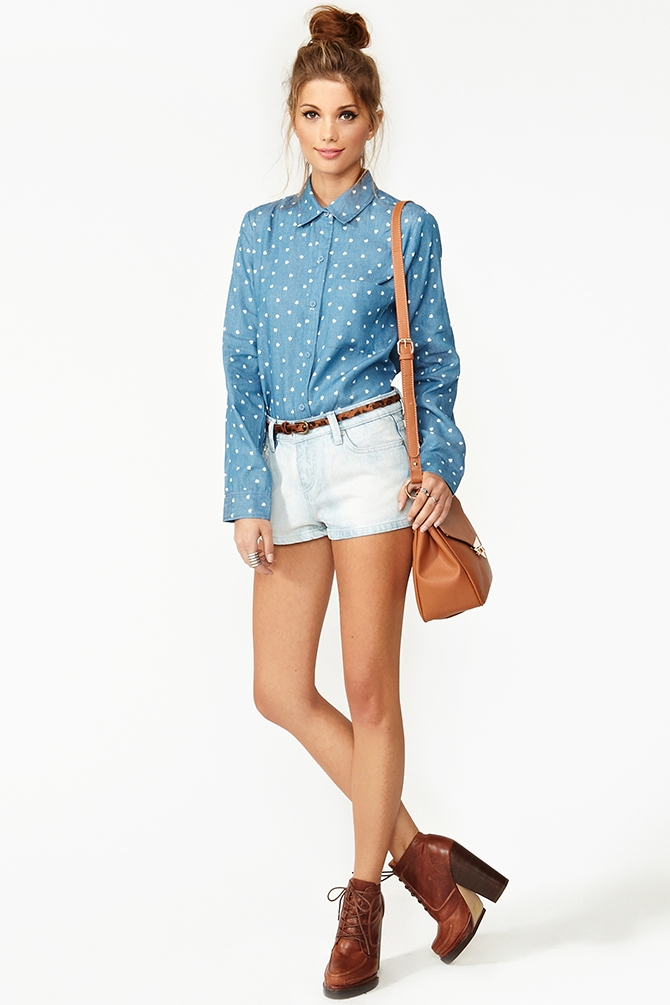 Nasty Gal Chambray Heart Shirt In Blue - Lyst-5095