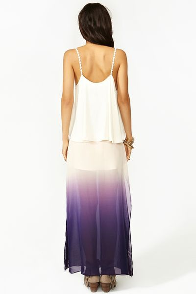 nasty gal ombre maxi skirt in purple violet lyst