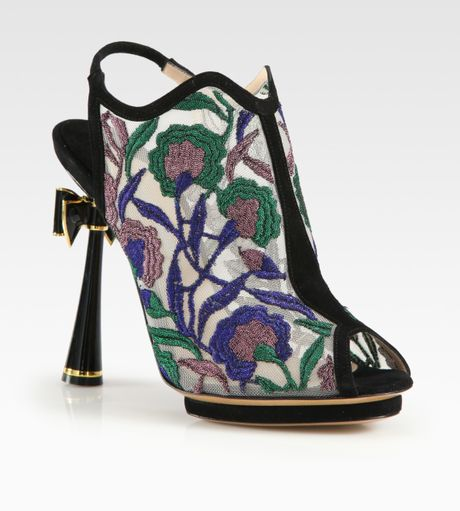 Nicholas Kirkwood Embroidered Open Back Bow Suede Ankle Boots in Multicolor (black)