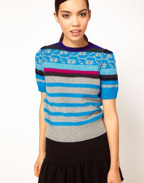 Sonia By Sonia Rykiel Short Sleeve Fairisle Knit in Blue (490sourismultico)