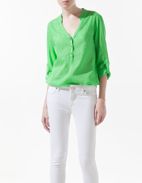 Zara Mint Green Blouse 2