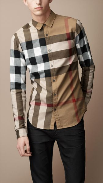 Burberry brit exploded check cotton shirt in beige for men for Burberry brit checked shirt