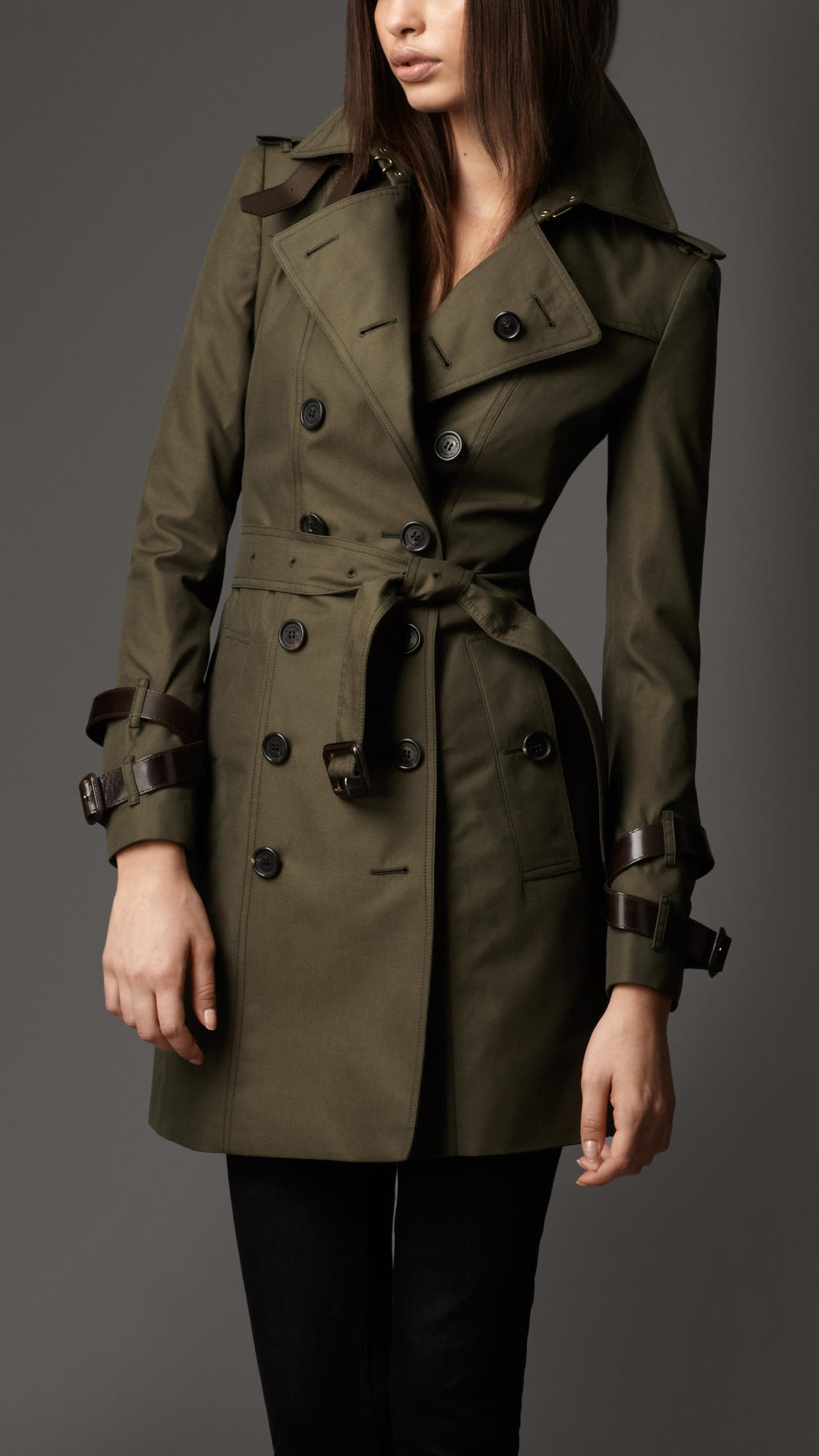 Burberry Midlength Cotton Gabardine Leather Detail