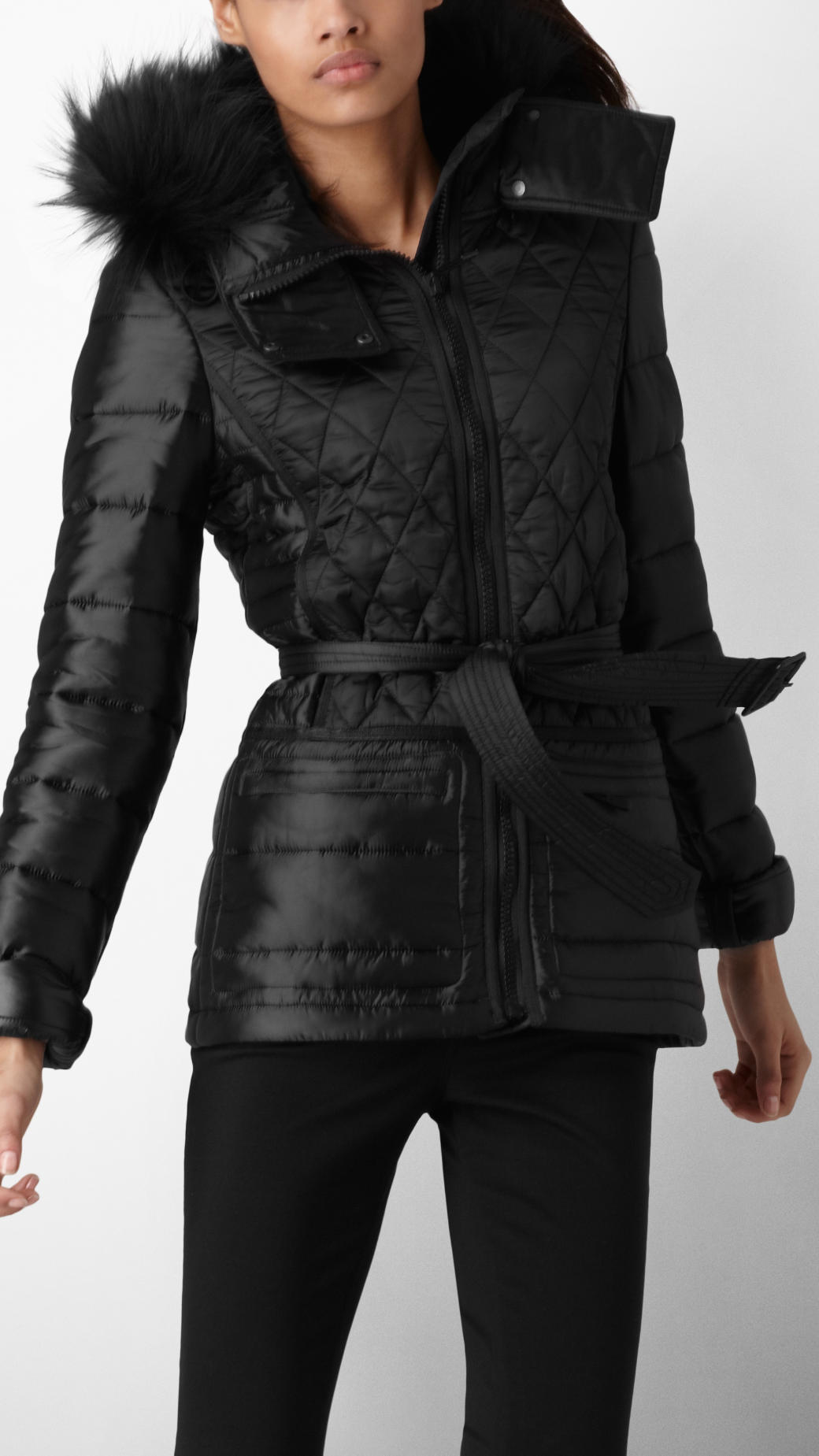 Burberry sport Fur Trim Multi Quilt Jacket in Black | Lyst : burberry quilted jacket with hood - Adamdwight.com