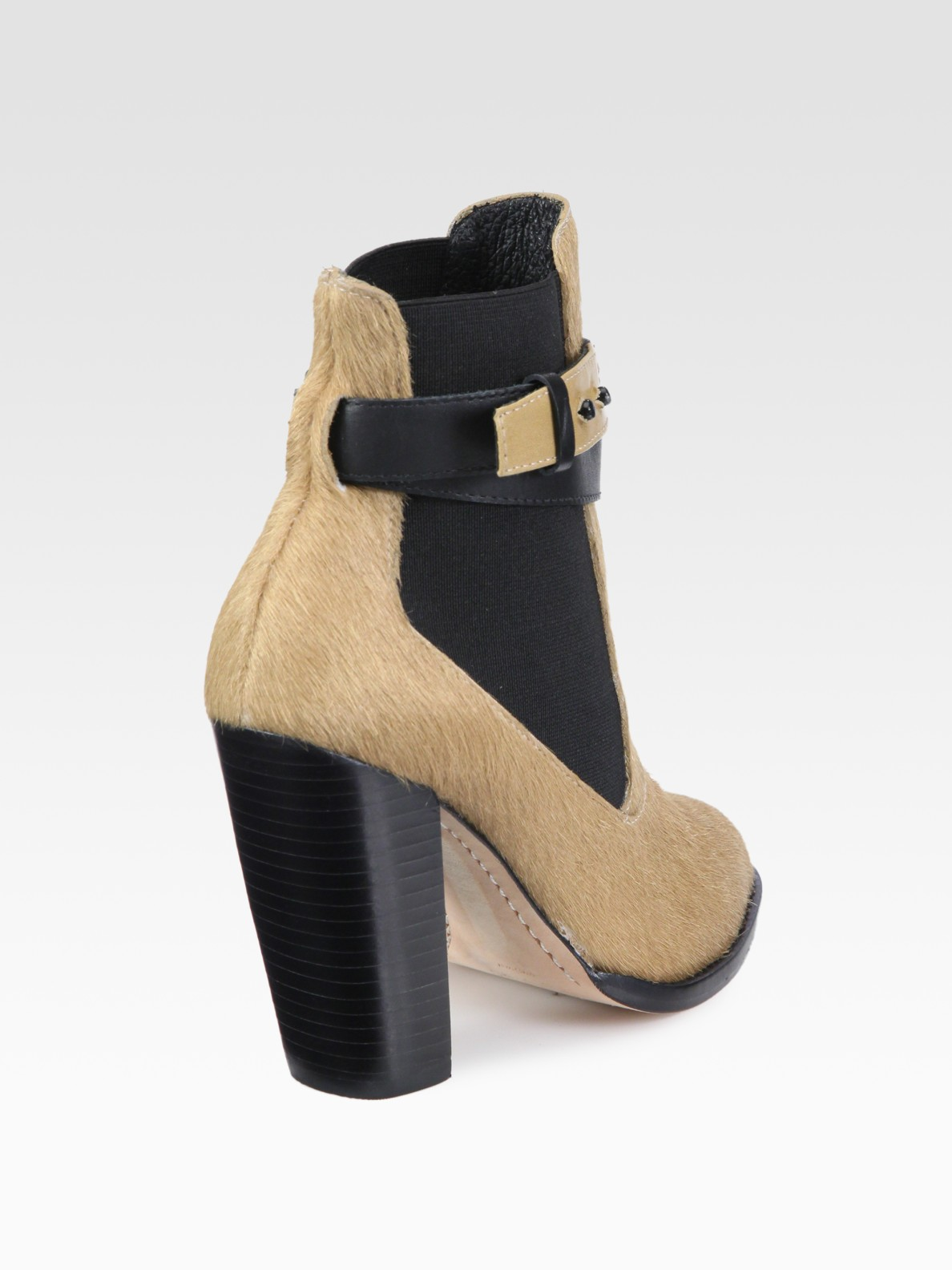 Elizabeth and james Solar Pony Hair Leather Ankle Boots in Natural ...