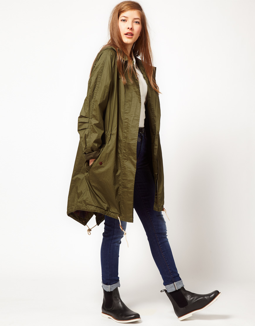 fred perry parka in green khaki lyst. Black Bedroom Furniture Sets. Home Design Ideas