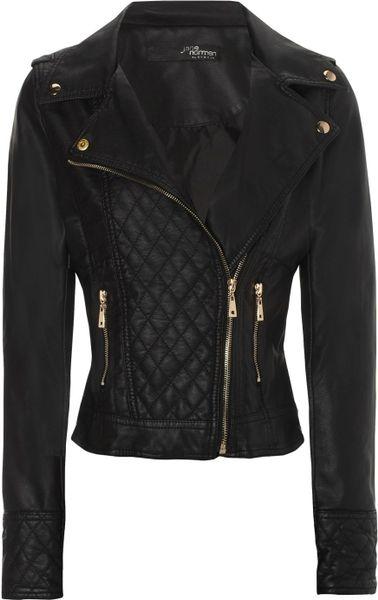 Jane Norman Black Pu Biker Jacket in Black