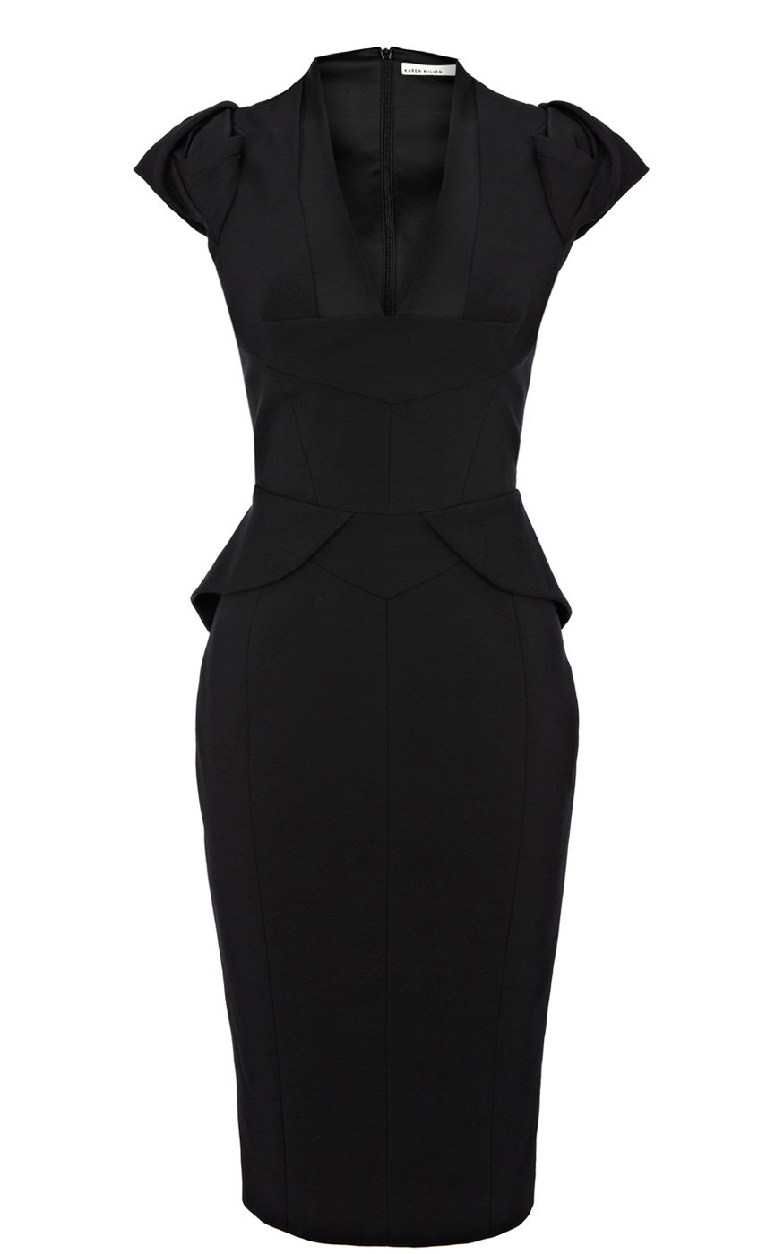 Karen Millen Sculptural Peplum Collec In Black Lyst