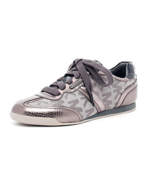 michael michael kors logo metallic sneaker in silver. Black Bedroom Furniture Sets. Home Design Ideas
