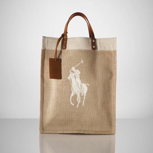 Ralph Lauren Big Pony Canvas Handbag Blue Black White