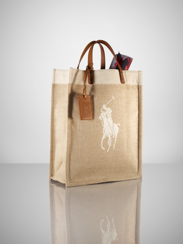 Lyst - Ralph Lauren Collection Canvas   Linen Big Pony Tote in Natural bfdae0579999d