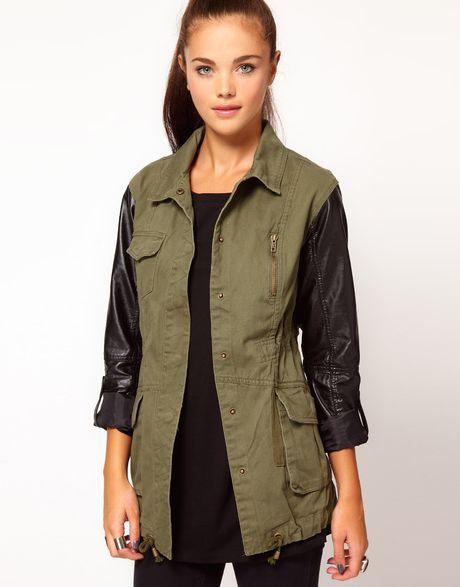 River Island Pu Sleeve Army Jacket in Green (khaki)   Lyst