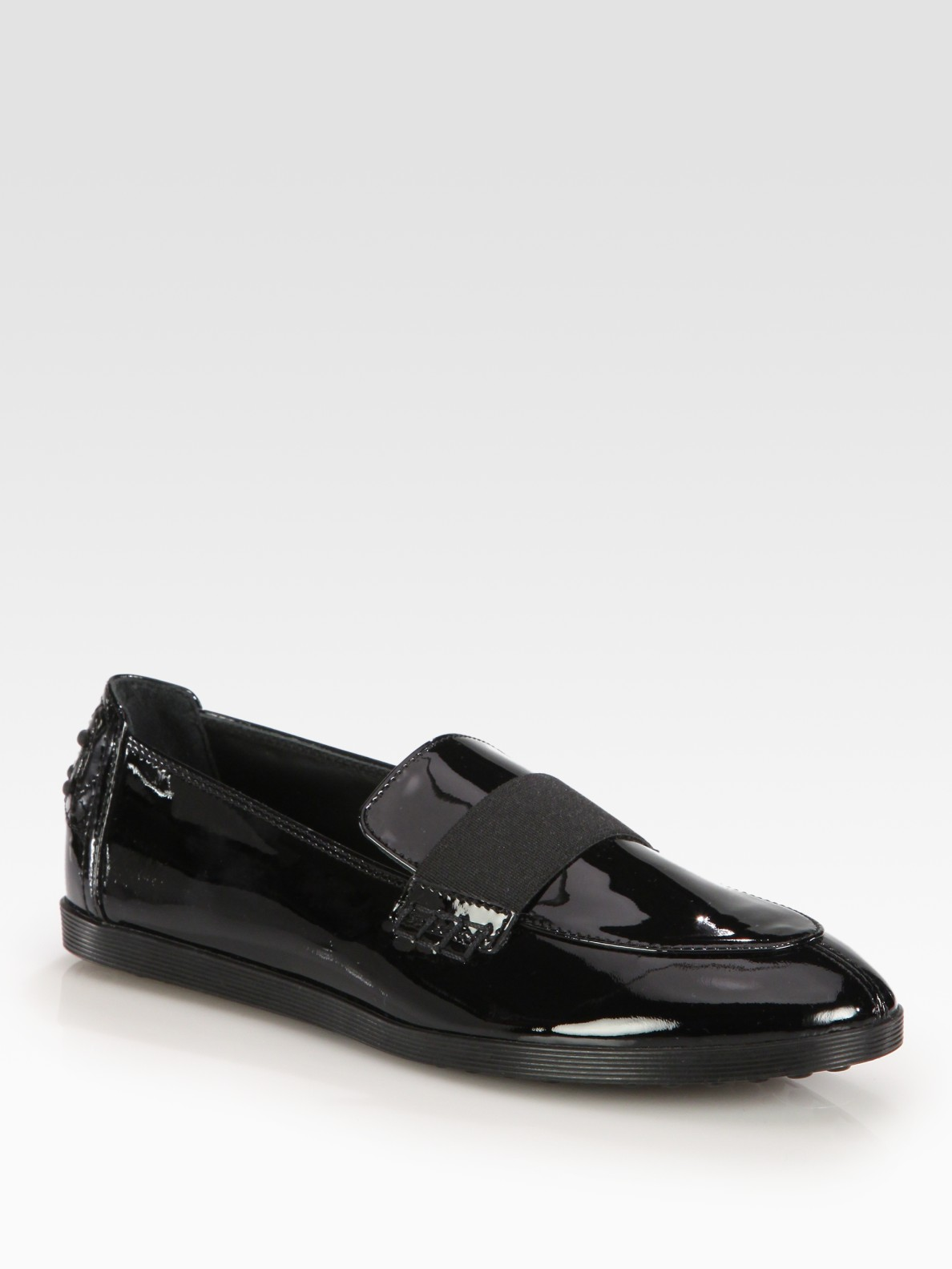 Lyst Tod S Patent Leather Moccasin Loafers In Black