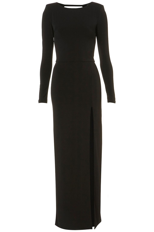 Topshop Shoulder Pad Maxi Dress In Black Lyst