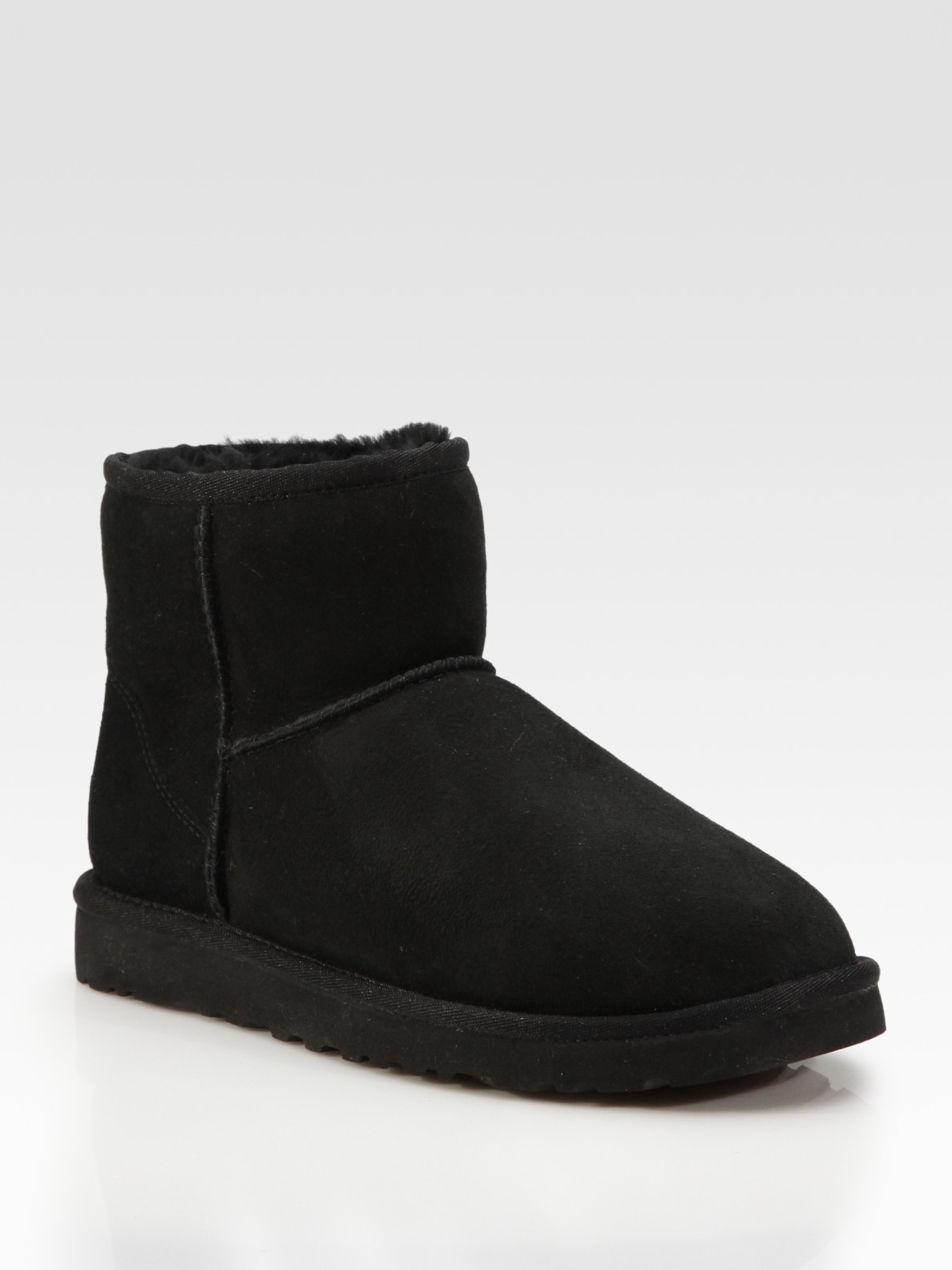 ugg classic mini suede shearling boots in black lyst. Black Bedroom Furniture Sets. Home Design Ideas