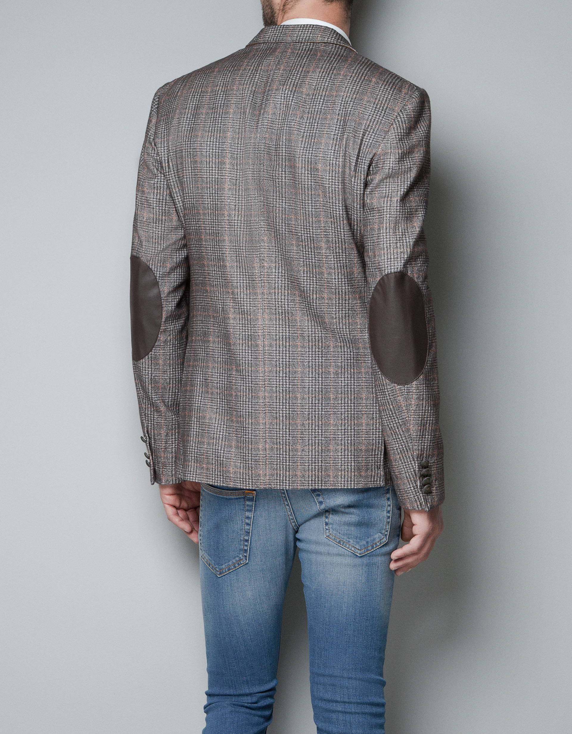 Zara Checked Blazer In Natural For Men Lyst