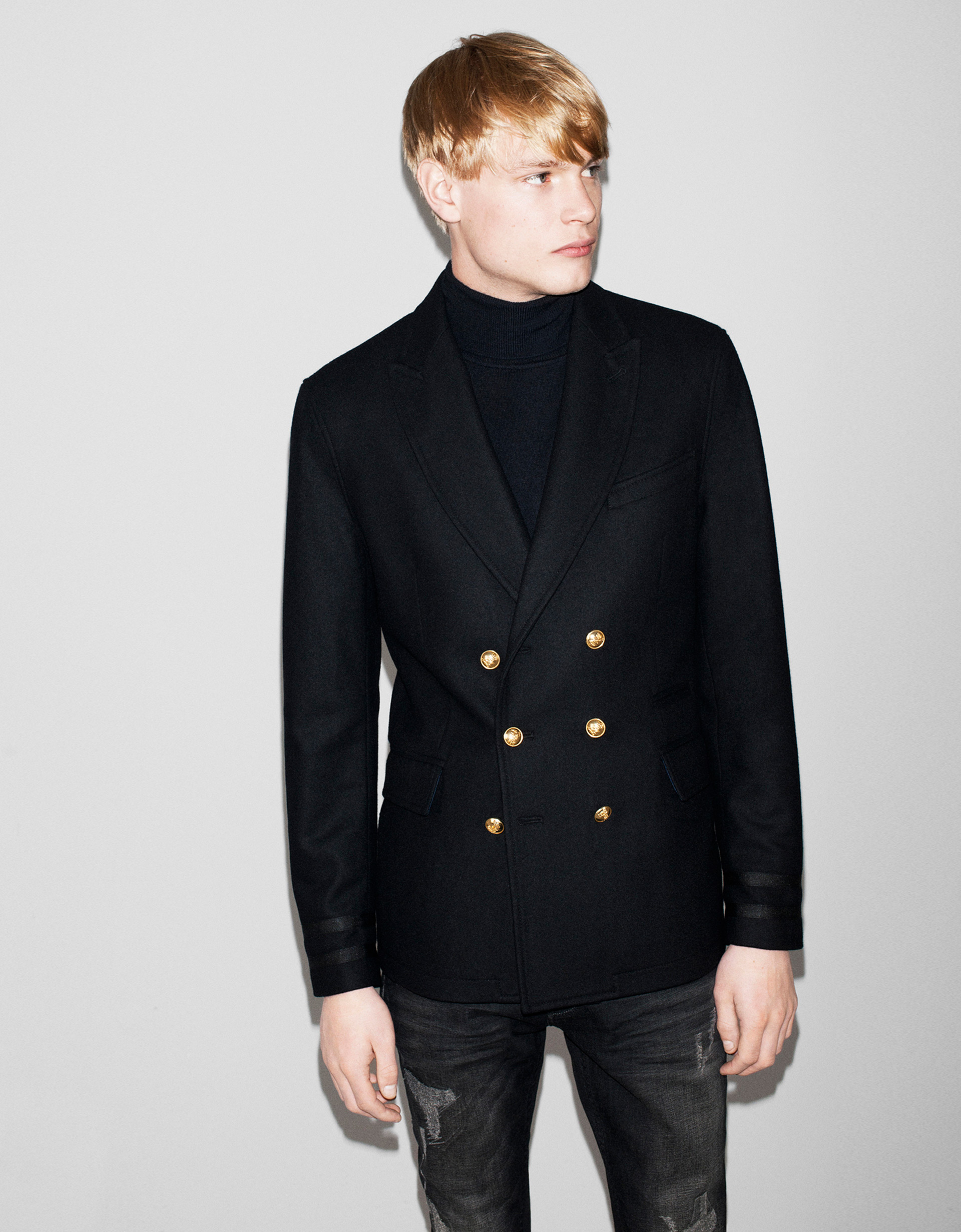 Zara Double Breasted Blazer with Metallic Button in Black for Men ...