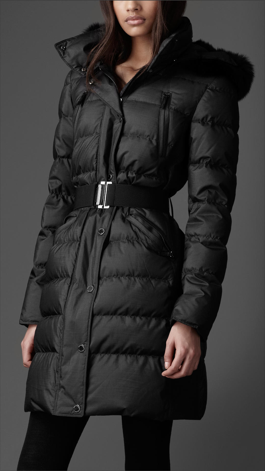Burberry Fur Trim Quilted Coat in Black | Lyst
