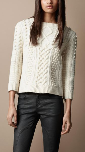 Burberry Brit Cable Knit Sweater In White Natural White