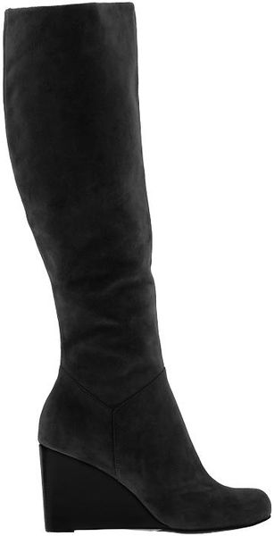 cole haan cora wedge boot in black black suede lyst