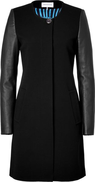 Emilio Pucci Black Coat with Lambskin Sleeves in Black
