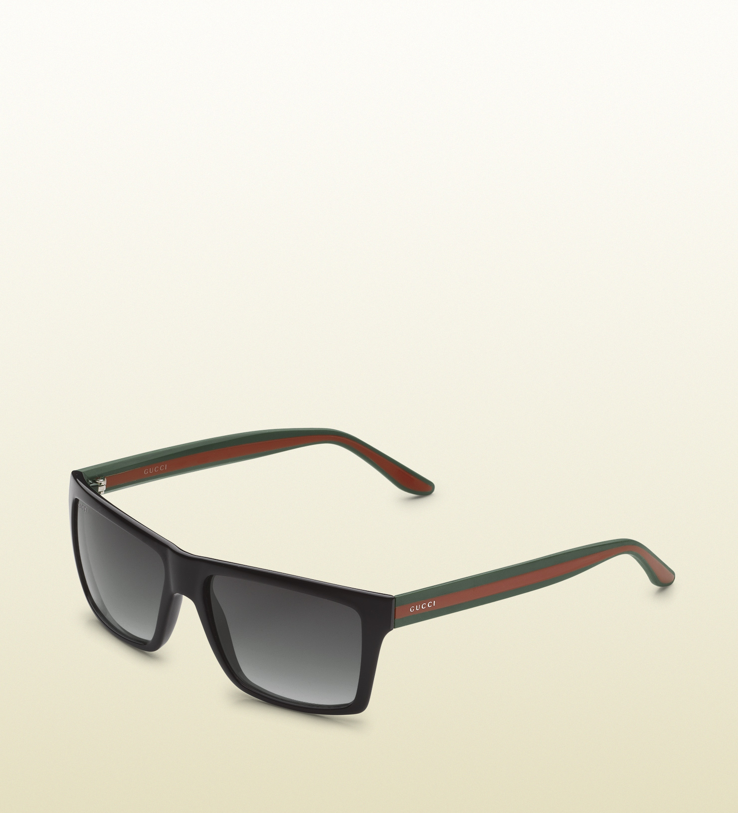 Gucci Medium Rectangle Frame Sunglasses With Logo On Web ...