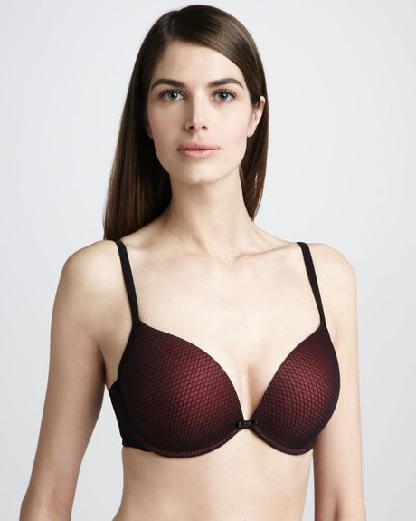 Le Mystere Plunging Pushup Bra Blackred in Red (black/red)